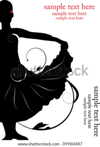 decorative ballerina, silhouette with place for sample text - stock vector