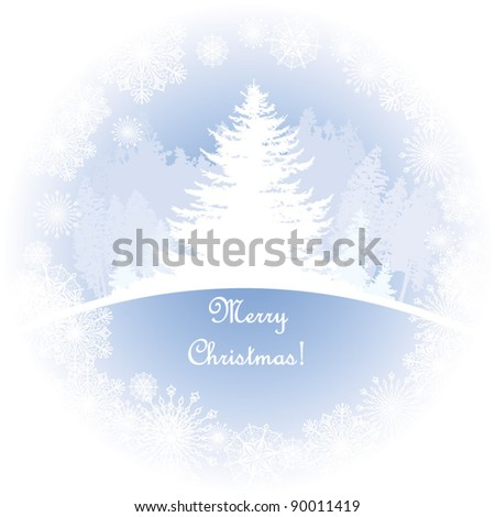 decorative banner with winter-landscape, forest Silhouette,  Fir, Snowflakes - stock vector