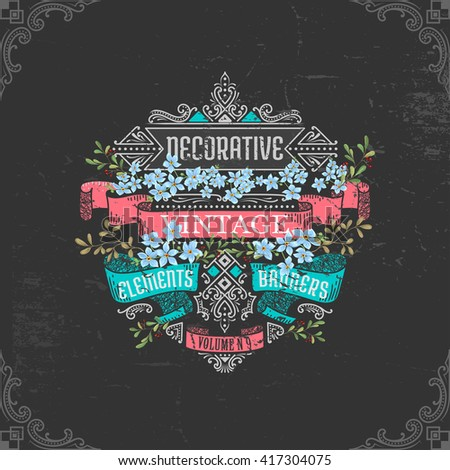 decorative banners and elements with flowers and brunches for your design - stock vector