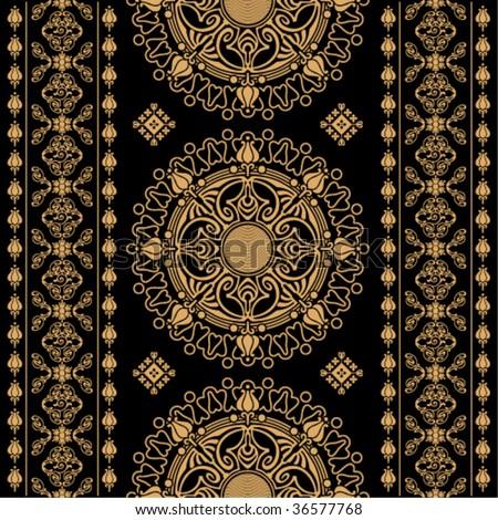 decorative beige symmetric decorative pattern on a black background - stock vector