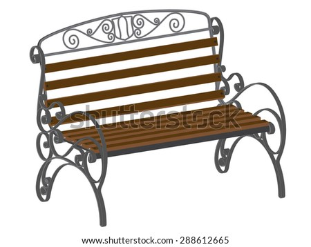 Decorative bench in an isometric view. Isolated.
