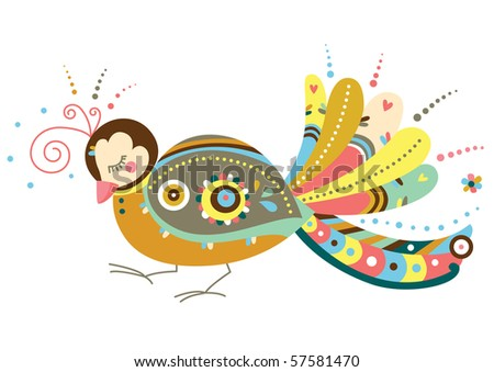 Decorative bird in contemporary style. - stock vector