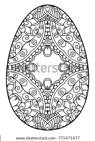 Decorative black white easter egg template stock vector 775471477 decorative black and white easter egg template for the postcards printing on to fabric pronofoot35fo Images