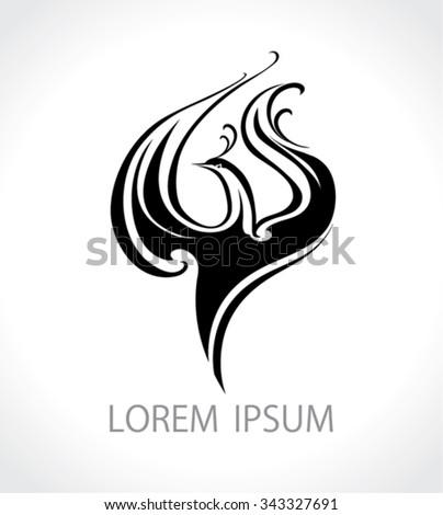 Decorative black bird - design template. - stock vector