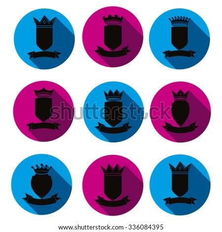 Decorative black coat of arms, protection theme symbols. Heraldry, stylish award vector design elements isolated on white.  - stock vector