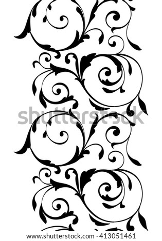 Decorative black floral ornament isolated on white background. Vertical contour ornamental pattern with stylized leaves and curve lines. Black contour pattern isolated on white background. - stock vector