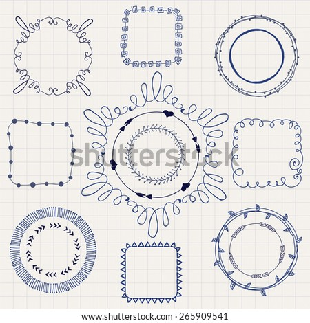 Decorative Black Hand Sketched Doodle Frames, Borders. Design Elements. Pen Drawing. Vector Illustration - stock vector