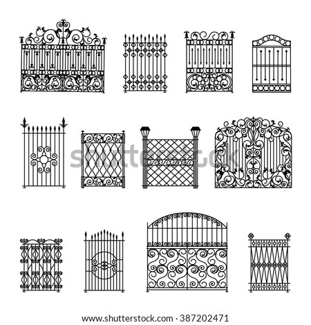 Forged Gates Set Decorative Metal Swirls 397424563 on grill design for home