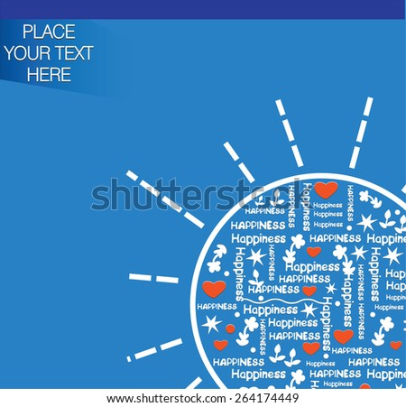decorative blue background with place for your text and sun - stock vector