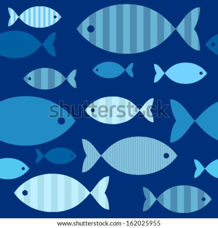 decorative blue fishes on blue seamless pattern - stock vector