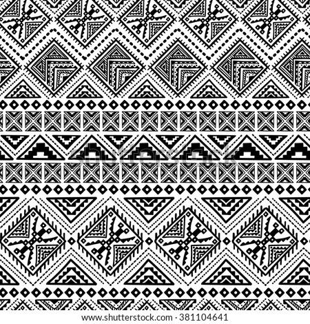 Decorative Boho Ancient Hand Drawn Ethnic Seamless Pattern - stock vector