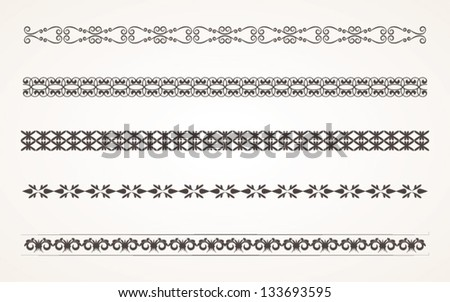 Decorative border elements for design Vector Illustration set 4