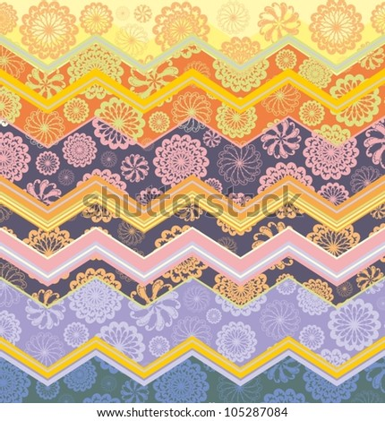 Decorative border pattern with ornamental rosettes - snowflakes on colorful zigzag background