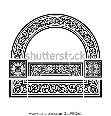 Decorative borders and corners, floral motif, set of vector design elements - stock vector
