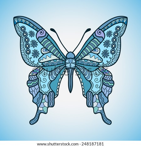 Decorative butterfly, graphic style lace pattern, vector illustration - stock vector