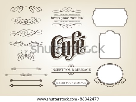 Decorative calligraphic design set - menu, cafe, food vector illustration