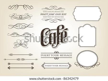 Decorative calligraphic design set - menu, cafe, food vector illustration - stock vector