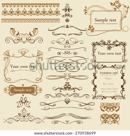 Decorative calligraphic elements and borders - stock vector