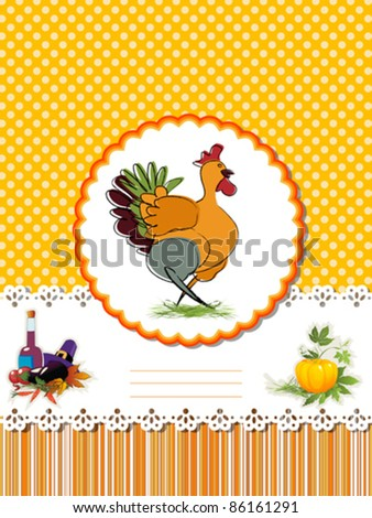 Decorative card  for Thanksgiving Day with Turkey and room for text. - stock vector