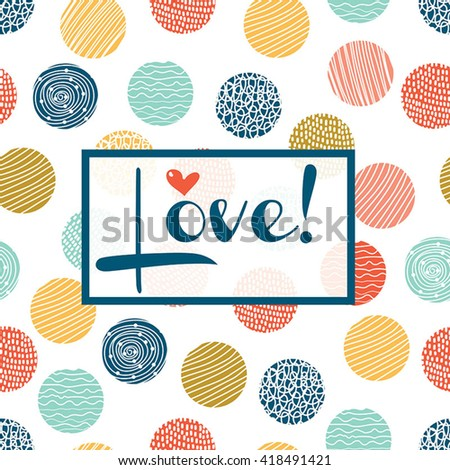 Decorative card with polka dot and frame.