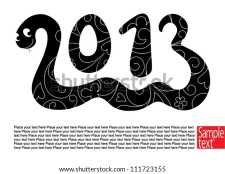 Decorative card with Snake the symbol 2013 year - stock vector