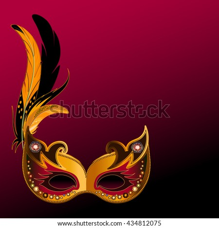 Decorative carnival mask decorated with rhinestones or diamond on maroon background. - stock vector