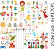 Decorative cartoon characters collection, design elements over white background - stock vector