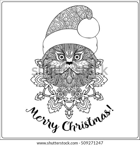 Decorative Cat In The Santa Claus Hat On A Snowflake Background Coloring Book For Adult