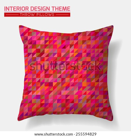 Decorative cheerful cushion. Throw Pillow design template. Red tones mosaic pattern is masked. Interior design element. Creative Sofa Toss Pillow. Vector design is layered, editable.  - stock vector