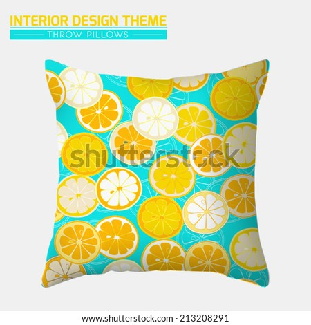 Decorative Cheerful Throw Pillow design template. Original Citrus Slice pattern is complete, masked. Modern interior design element. Creative Sofa Toss Pillow. Vector design is layered, editable. - stock vector