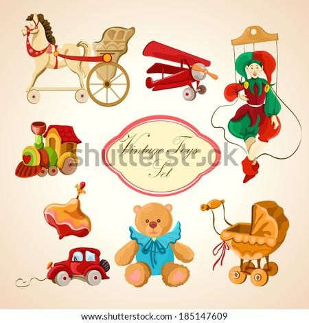 Decorative children toys sketch icons set of horse airplane puppet train isolated vector illustration - stock vector