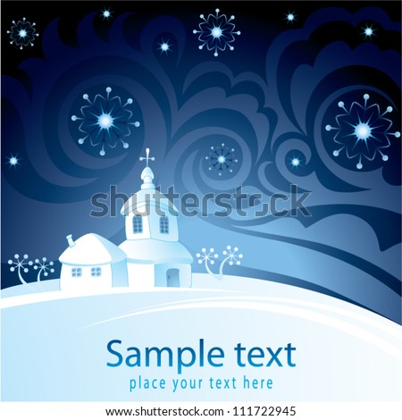 Decorative Christmas background with church - stock vector