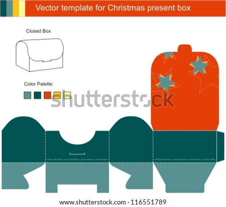 Decorative Christmas Box with die cut christmas ornaments - stock vector