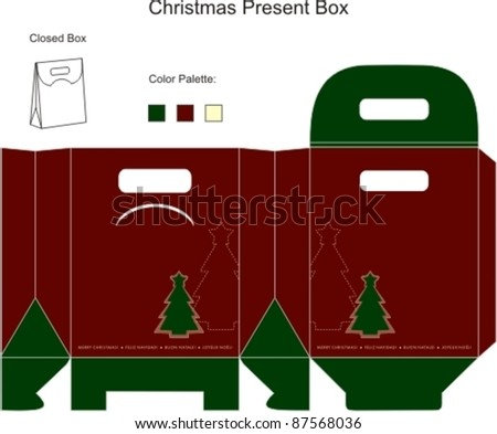 Decorative christmas box with die cut tree - stock vector