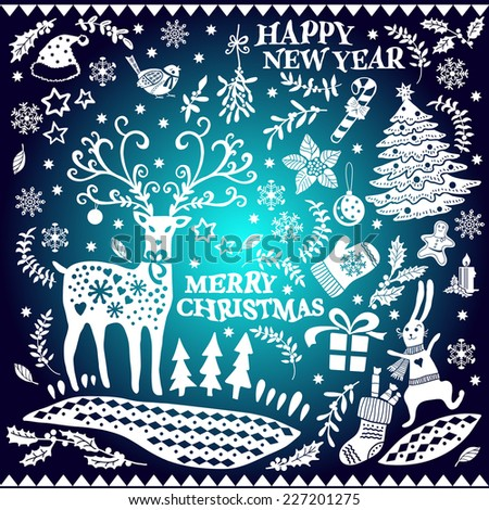 Decorative Christmas Doodle set.  Vector illustration. Gradient background. Hand drawing. Set of Christmas icons. Elements for design of cards, invitations and other print projects. - stock vector