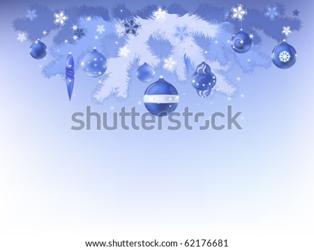 Decorative Christmas, New Year, postcard with blue balls, vector illustration.