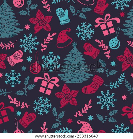 Decorative Christmas seamless. Hand drawing. Christmas decorations. Seamless pattern for fabric, paper and other printing and web projects. - stock vector
