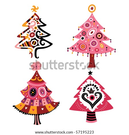 Decorative Christmas tree in contemporary style. - stock vector