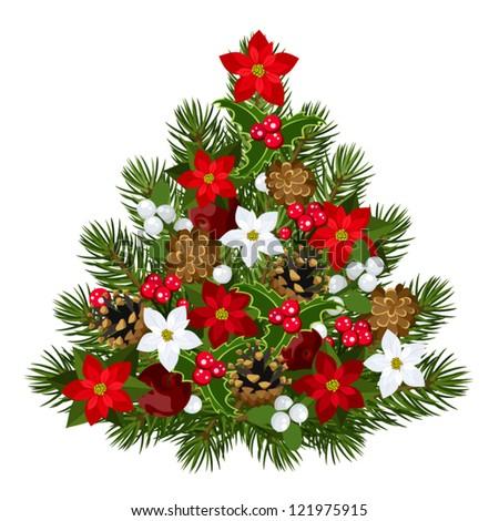 Decorative Christmas tree. Vector illustration. - stock vector