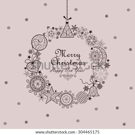 Decorative Christmas vintage wreath - stock vector