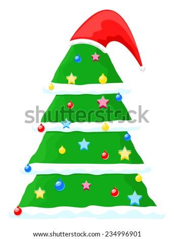 Decorative Chtistmas Tree with Santa Cap - stock vector