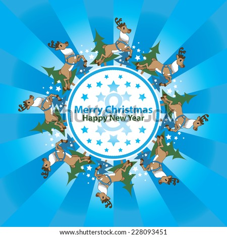 Decorative circular background with reindeer / Merry Christmas - stock vector
