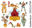 Decorative circus magic fairy wand and clown trick design vintage icons set doodle color sketch vector illustration - stock