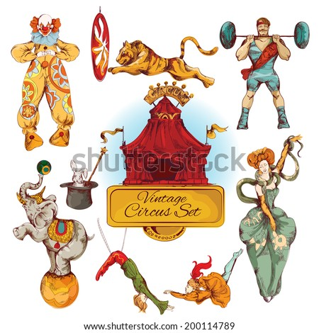 Decorative circus magic fairy wand and clown trick design vintage icons set doodle color sketch vector illustration - stock vector