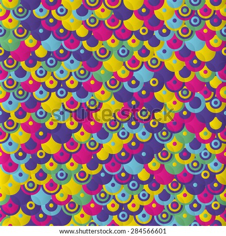 Decorative colorful circles. Seamless pattern, Vector background.  - stock vector
