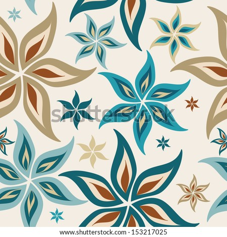 Decorative colorful  floral background with flowers - seamless pattern - stock vector