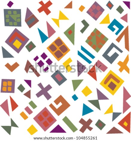 Decorative colorful pattern with a vibrant original African feel featuring abstract geometrical elements - stock vector