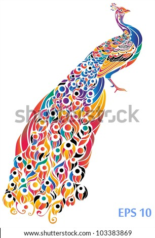 Decorative colorful Peacock - stock vector