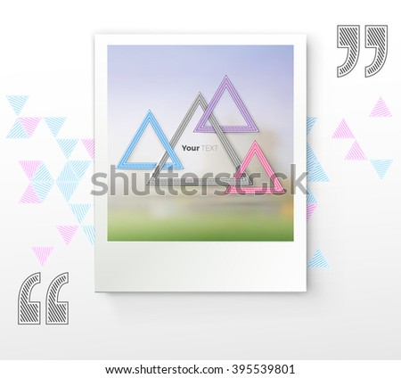 Decorative Colorful Triangles Frames Com[position on a Photo Paper Mockup - stock vector