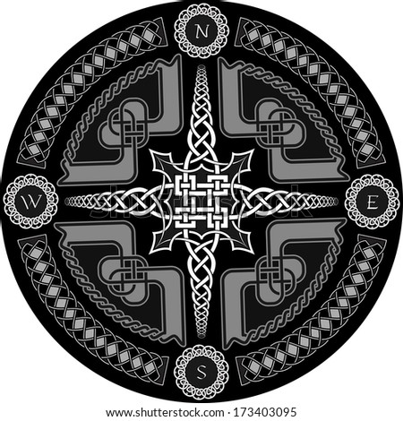 Decorative compass in Celtic style with ornament - a vector - stock vector